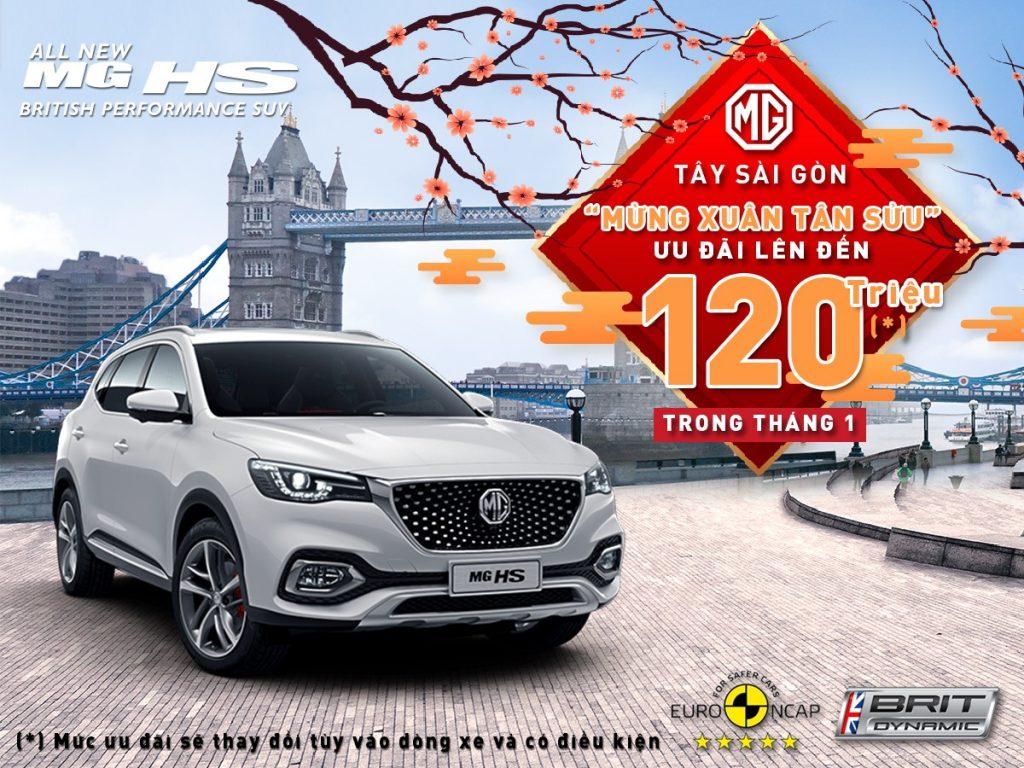 Ưu đãi lên đến 120,000,000 VNĐ khi mua xe MG HS tại MG Tây Sài Gòn